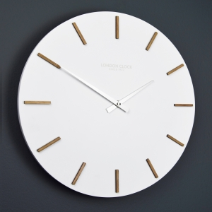 White clock, wooden clock, round clock, engagement present, wedding present, no number clock