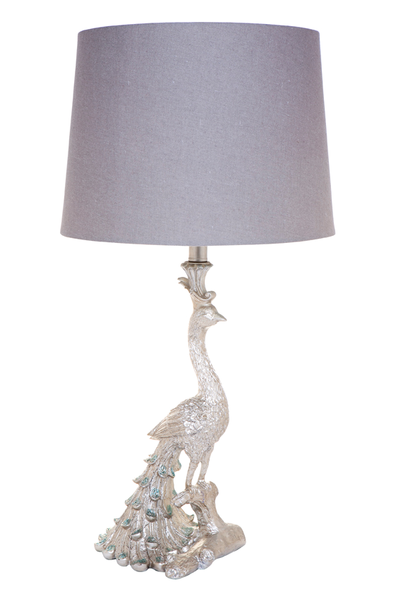 peacock lamp, silver lamp, bedroom lamp