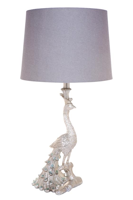 peacock lamp, silver lamp, bedroom lamp