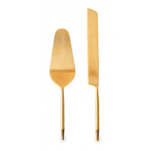 Nel lusso brass Cake Server and Knife set