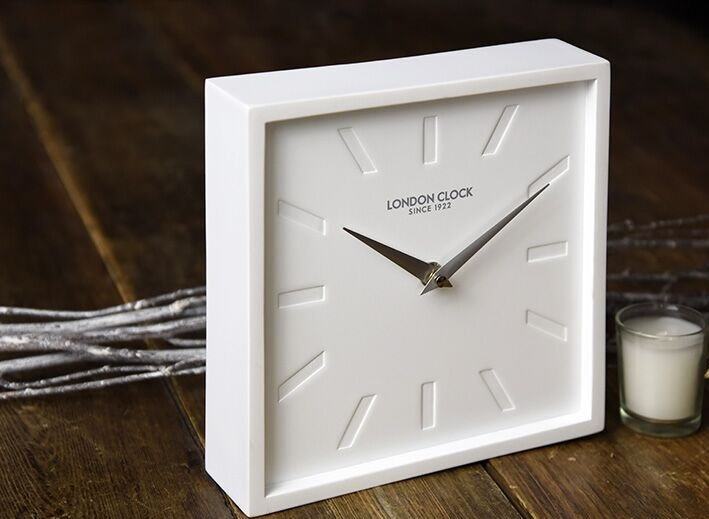 London Clock Company Company, mantel clocks, wedding gifts, engagement gifts, white clocks, modern clocks, square clocks, white resin square