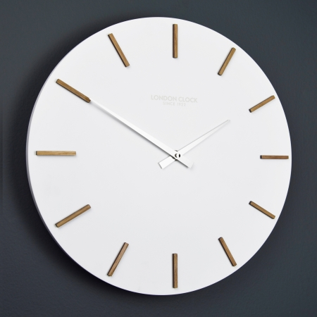 White clock, wooden clock, round clock, engagement present, wedding present, no number clock