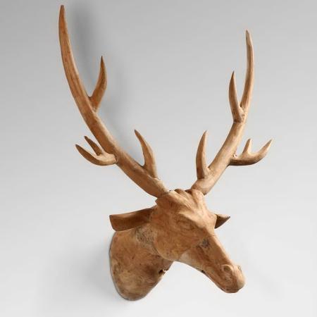 wooden deer head, wall art, stags,