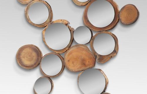 scandinavian mirror, wood mirror, round mirror