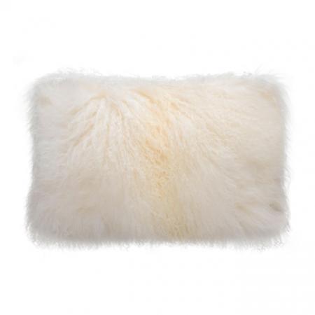 Natural White Tibetan Fur Cushion