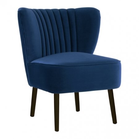 French Navy Velvet Slipper Chair