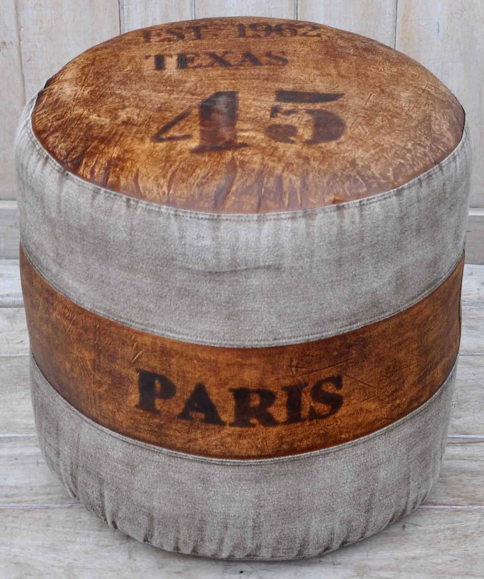 Paris Round Leather Ottoman