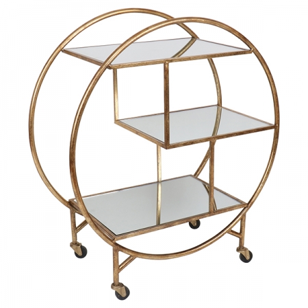 Round Antique Gold Bar Trolley