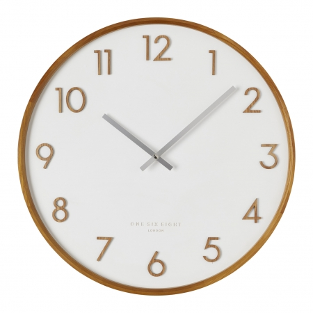 Timber frame white face wall clock
