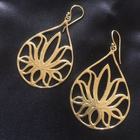 Golden Flower lotus Earrings