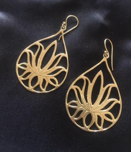 Golden Flower lotus Earrings