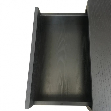 Black Luna two drawer bedside table