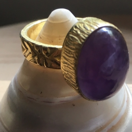 Amythyst brass ring