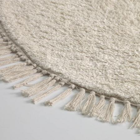 Round White Tassel Rug